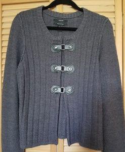 Tahari Merino Wool Blend Grey Cardigan